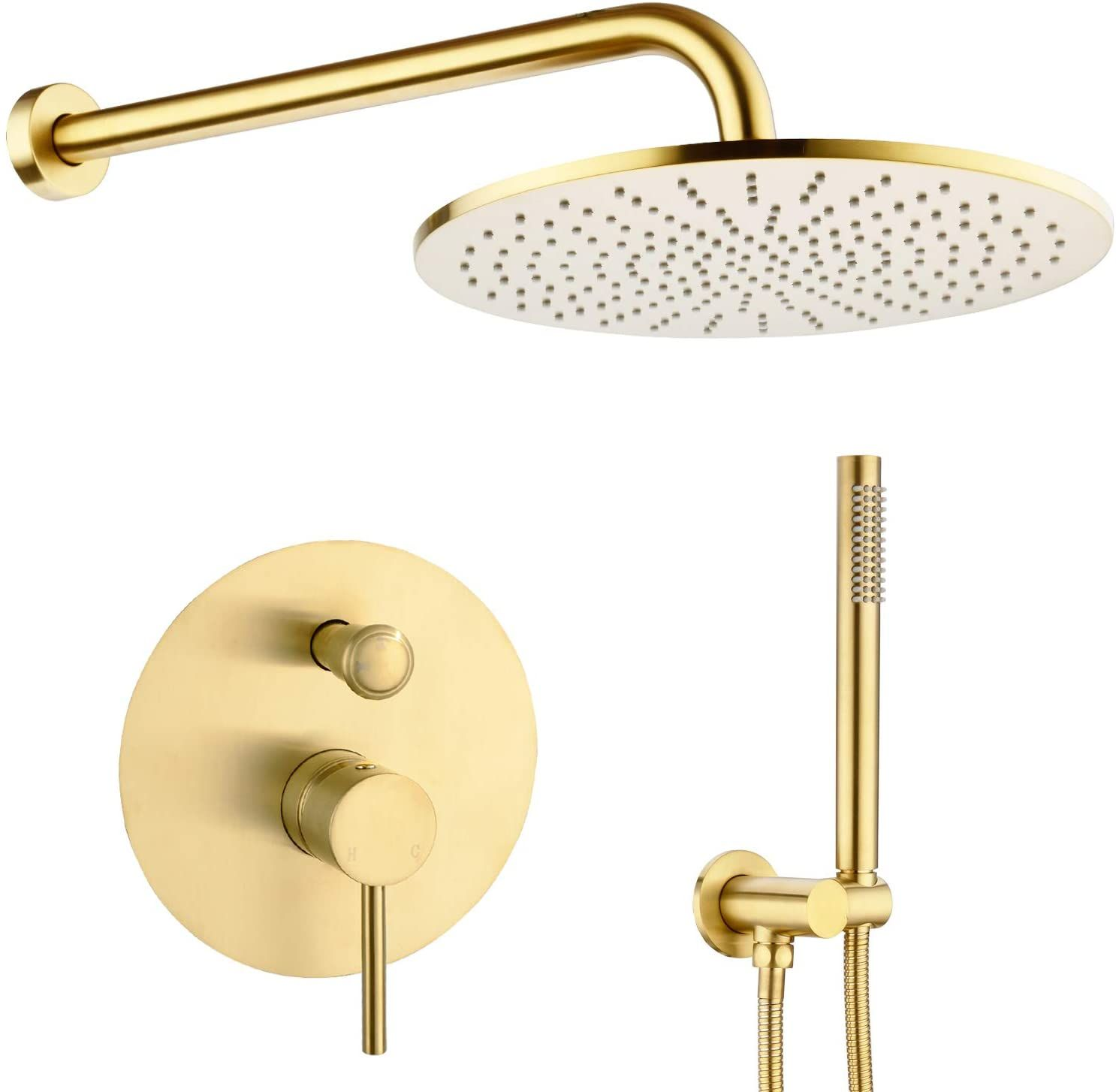 12 Inch Round Bathroom Luxury Rain Mixer Combo Set Wall Mounted 12 Inch Set Brushed Gold In 2021 Rainfall Shower Head Rainfall Shower Shower Faucet Sets [ 1454 x 1486 Pixel ]