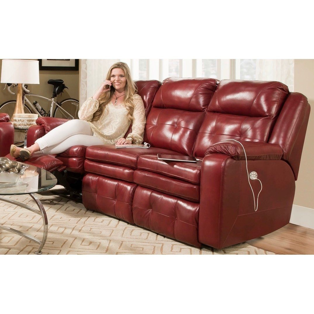 Southern Motion S Inspire Power Headrest Reclining Sofa Red