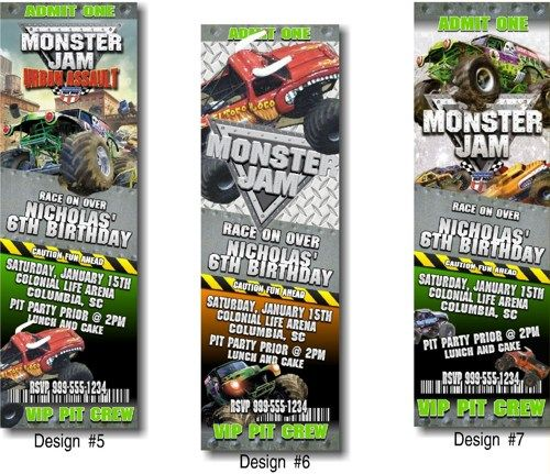 digital, diy - monster jam, monster truck birthday party, Party invitations