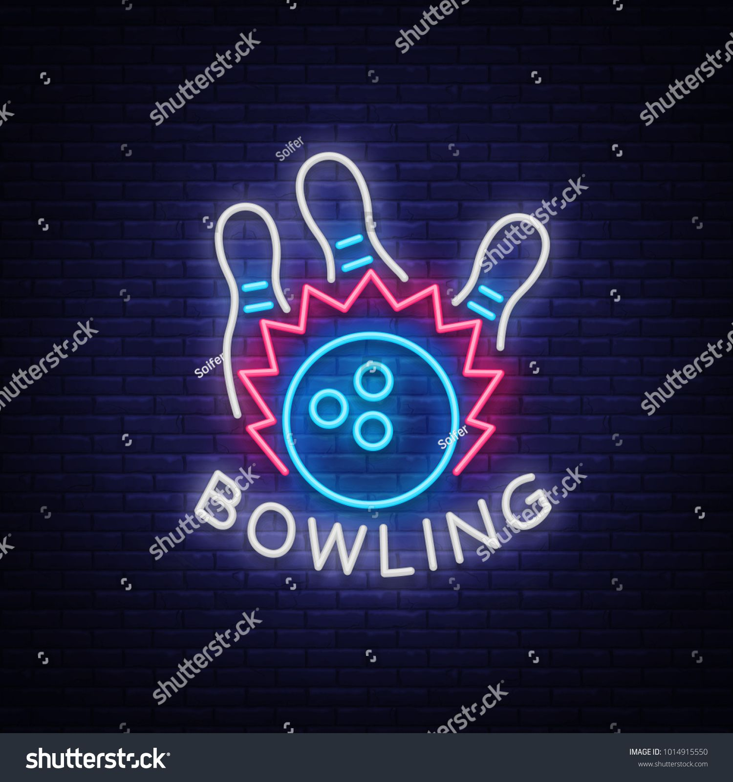 Bowling Logo Neon Sign Symbol Bright Banner Advertising Bright Night Bowling Luminous Neon Billboard Design A Template Fo Neon Signs Cool Neon Signs Neon