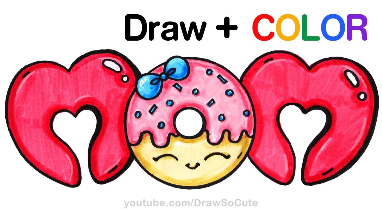 how to draw color mom bubble letters with donut step by step