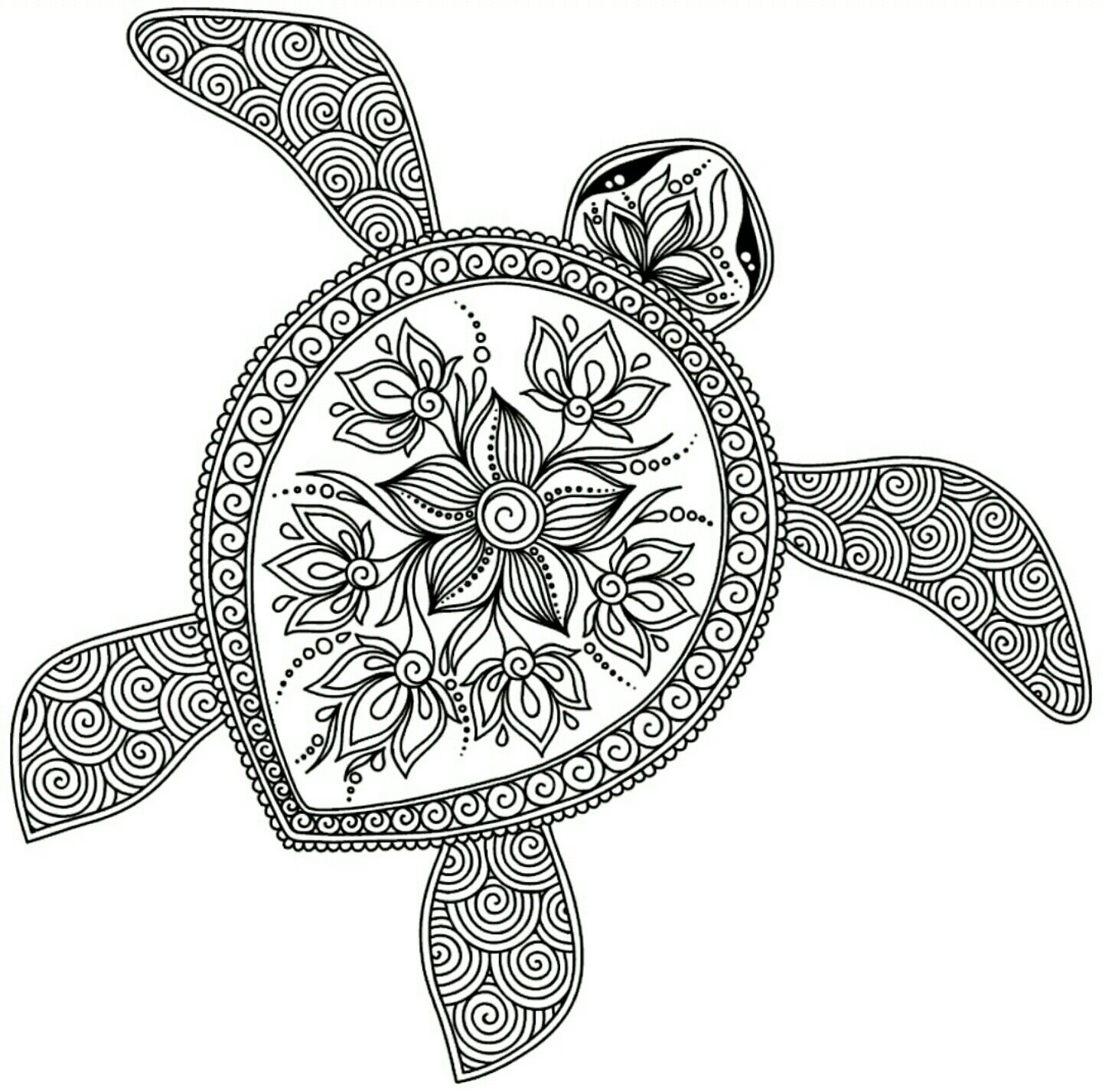 Turtle Color Page Turtle Coloring Pages Animal Coloring Pages Henna Animals