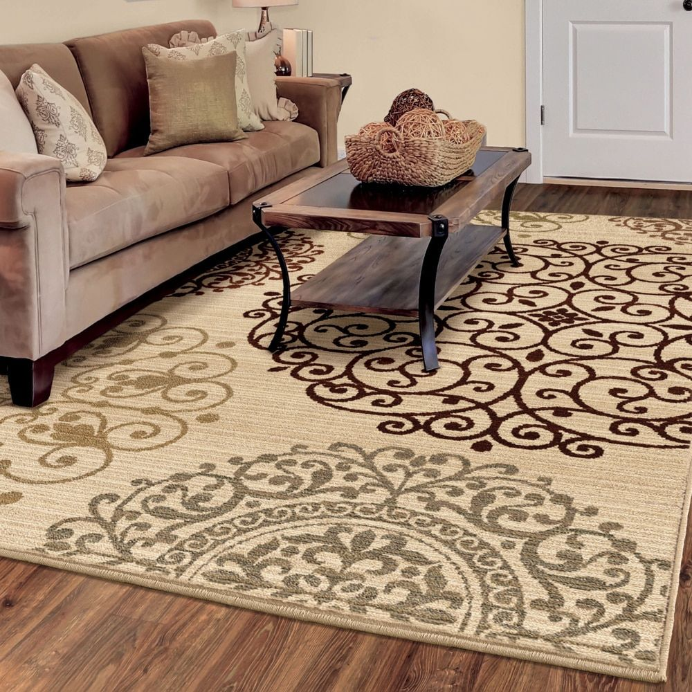 Carolina Weavers Ornate Expressions Collection Shifting Scrolls Ivory Area Rug 67 X 9