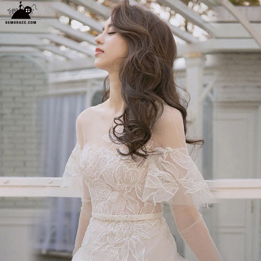 Fairy Lace Simple Wedding Dress With Off Shoulder Wedding