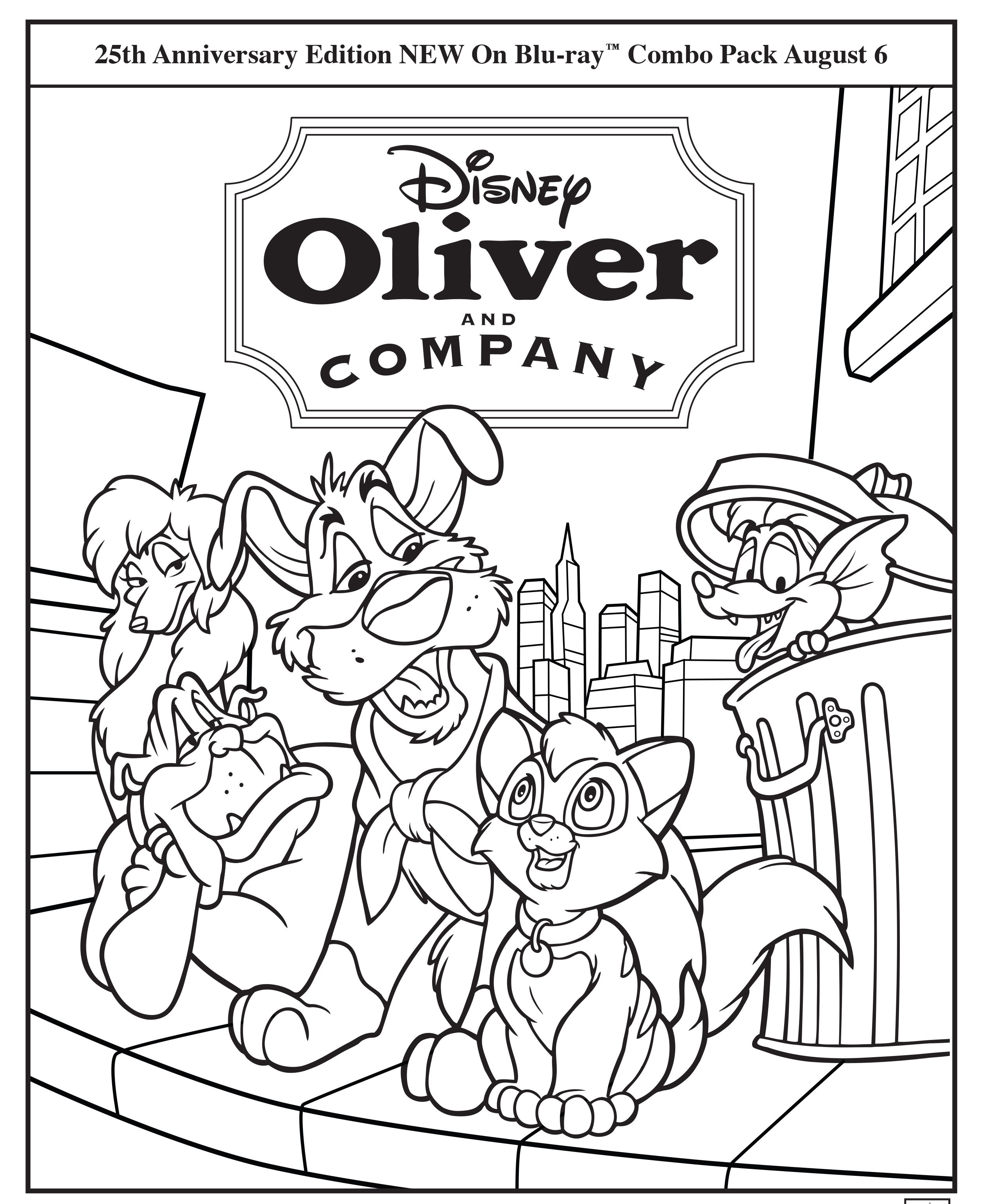 Oliver and Company Coloring Page Oliver and Company