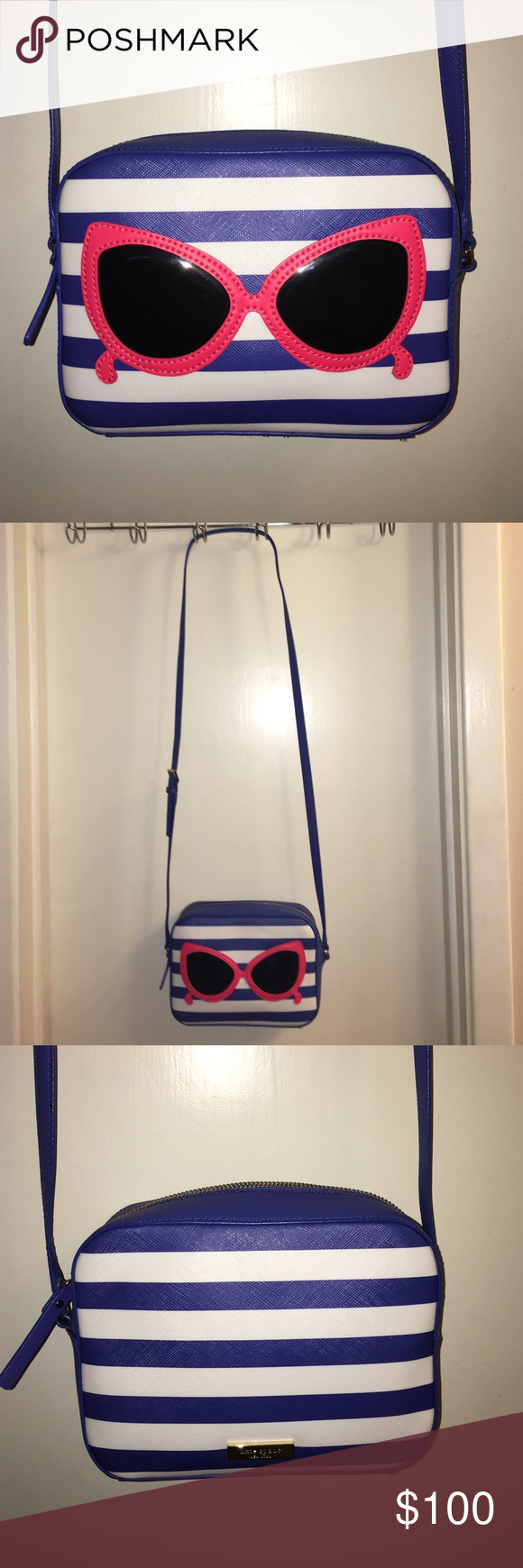 Kate Spade, Like New, Sunglasses Crossbody Purse Kate Spade, Sunglasses Crossbody Purse. Blue/White stripes. Only worn twice. No damage, like brand new. 100% Authentic! Bought on Poshmark awhile back & no longer use it, needs a good home!  ❌No Trades❌ kate spade Bags Crossbody Bags