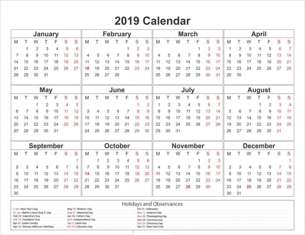 One Page 2019 Printable Calendar Free Download Calendar 2019 Template Monthly Calendar Printable Holiday Calendar Printable
