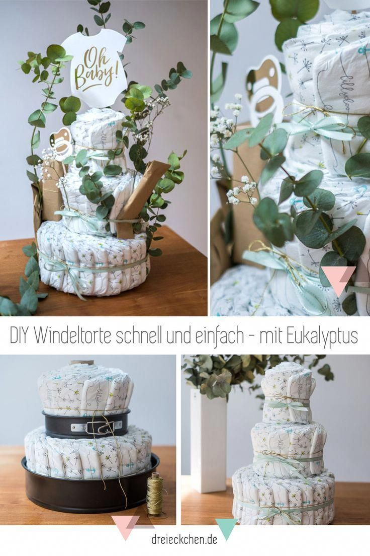 Beautiful diaper cake made with eucalyptus itself. The perfect idea for a baby shower or as a gift for birth! #windeltorte - #Baby #Beautiful #birth #Cake #diaper #eucalyptus #Gift #Idea #itself #maternitydiy #perfect #shower #windeltorte #diapercake