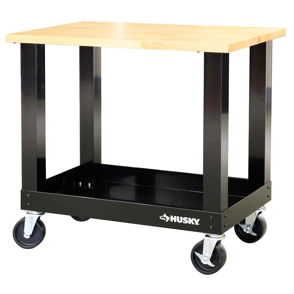 Seville Classics WEB484 UltraGraphite Wood Top Workbench on Wheels Garage Table