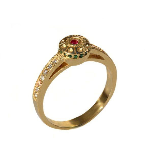 Ruby Diamond Rings Vintage engagement Ring Antique Design 14k