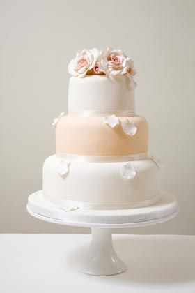 wedding cake peach and ivory champagne pink wedding 23390