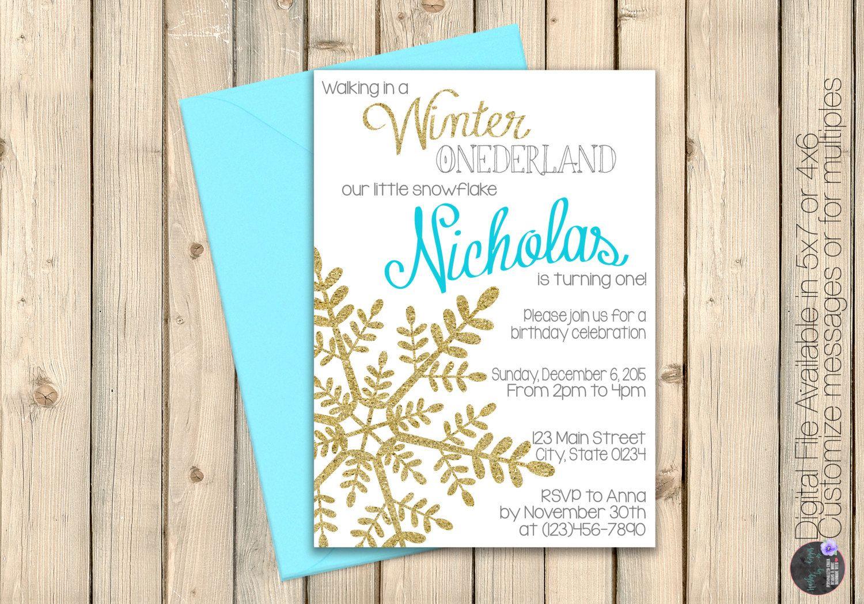 Winter Onederland First Birthday Invitation, Wonderland Birthday ...