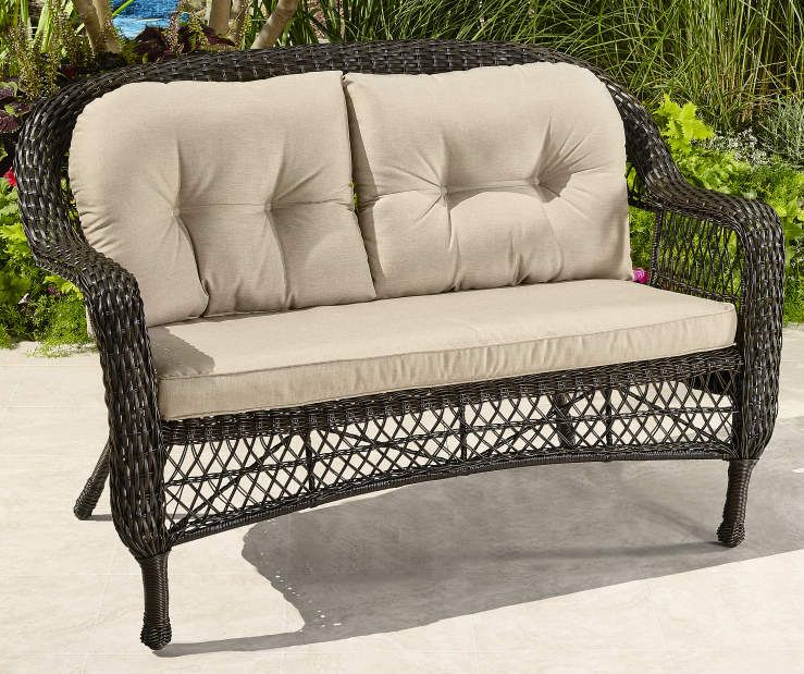 Super Westwood All Weather Wicker Settee Patio Bench With Cushions Pdpeps Interior Chair Design Pdpepsorg