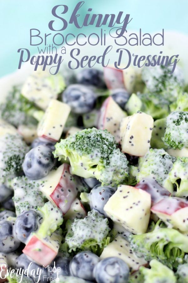Skinny Broccoli Salad with a Poppy Seed Dressing #saladrecipes #summersaladrecipes #broccolisalad #healthyfoodrecipes #saladdressingrecipes #poppyseeds #blueberries
