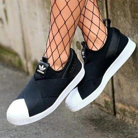 Tênis Adidas™ SuperStar SLIP ON – Feminino – Preto   Tênis