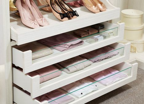 Ultimo glass fronted drawers in Pearl finish | Closet ...