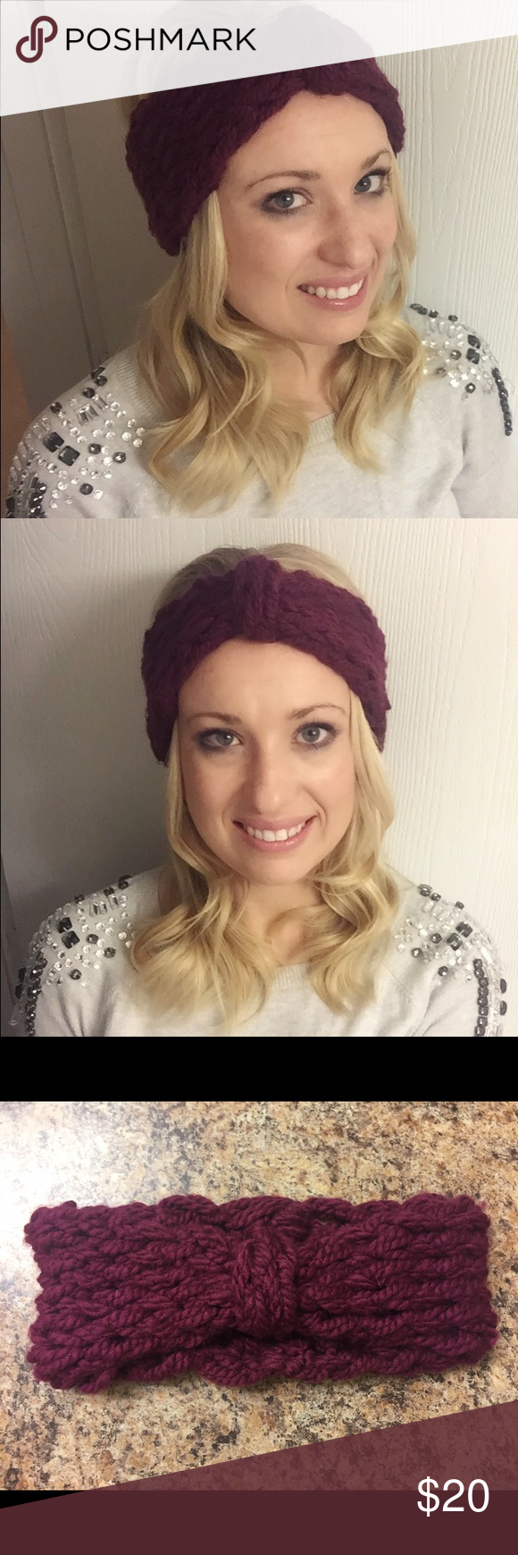Handmade Knitted Headband This is a gorgeous magenta knitted headband. This is a handmade item. Perfect for a Christmas gift! I can also make hand bands per your specifications on color and size, just message me prior to purchasing! Thank you and stay warm! Accessories Hair Accessories