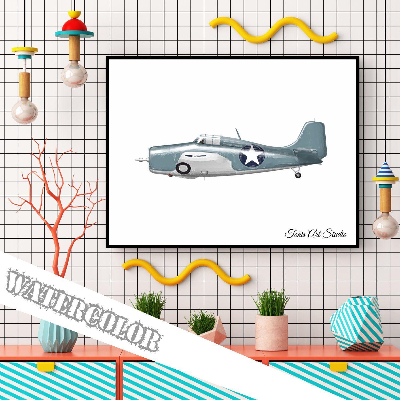 Aircraft Print Aviation Nursery Airplane Print Airplane Wall Art Vintage Plane Kids Room Plane Art Printable Art Watercolor Art Print Spaceship Wall Art Airplane Wall Art Aviation Nursery