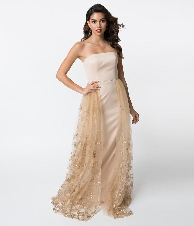 dfa34b4dfca9 Champagne Strapless Jersey & Lace Overlay Fitted Gown in 2019 | Prom ...