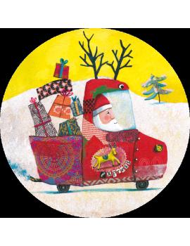 """Carte ronde 13.8 cm de Izou """"Le camion de Noël"""""""