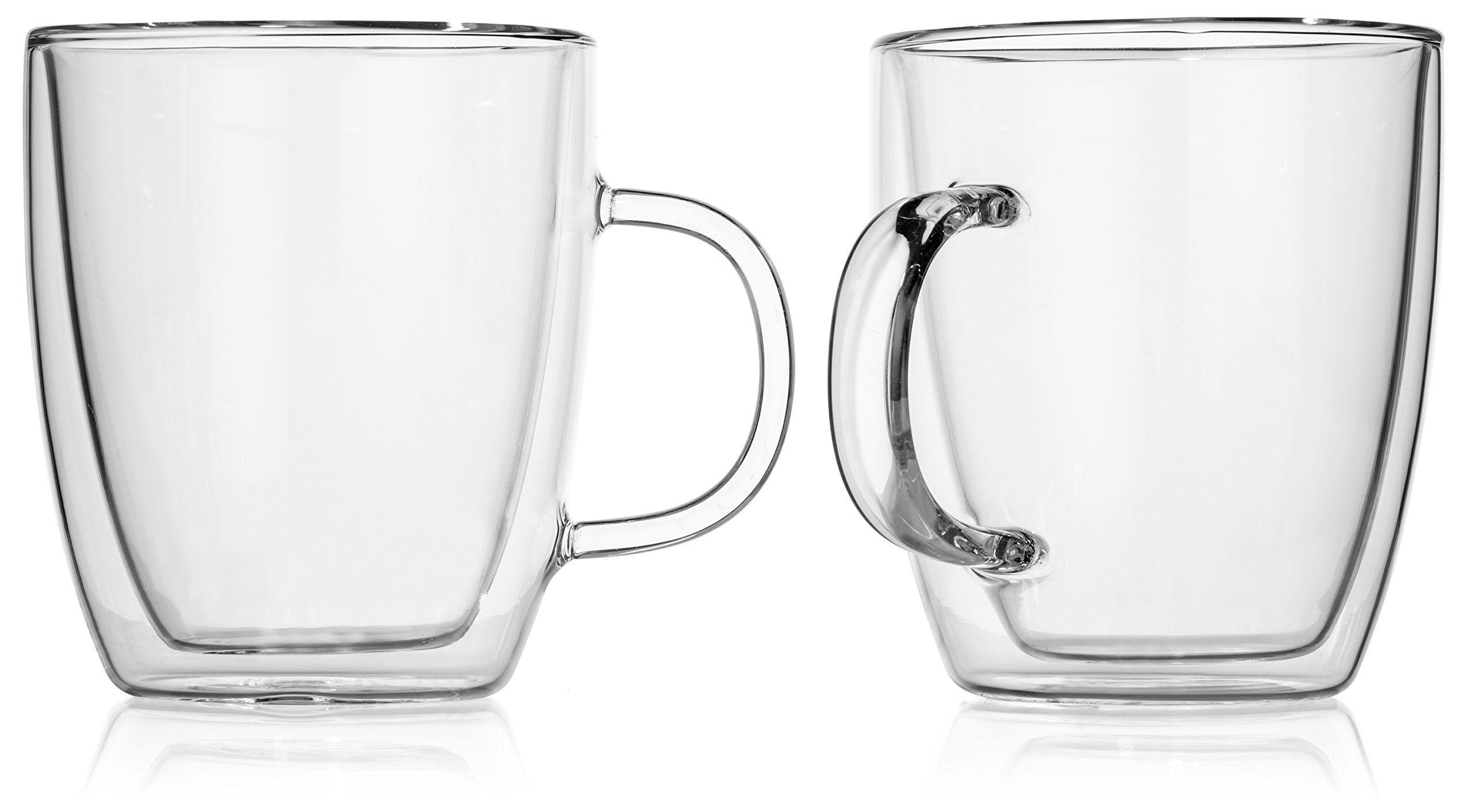 Hudson Essentials Double Wall Insulated Glass Coffee Mug