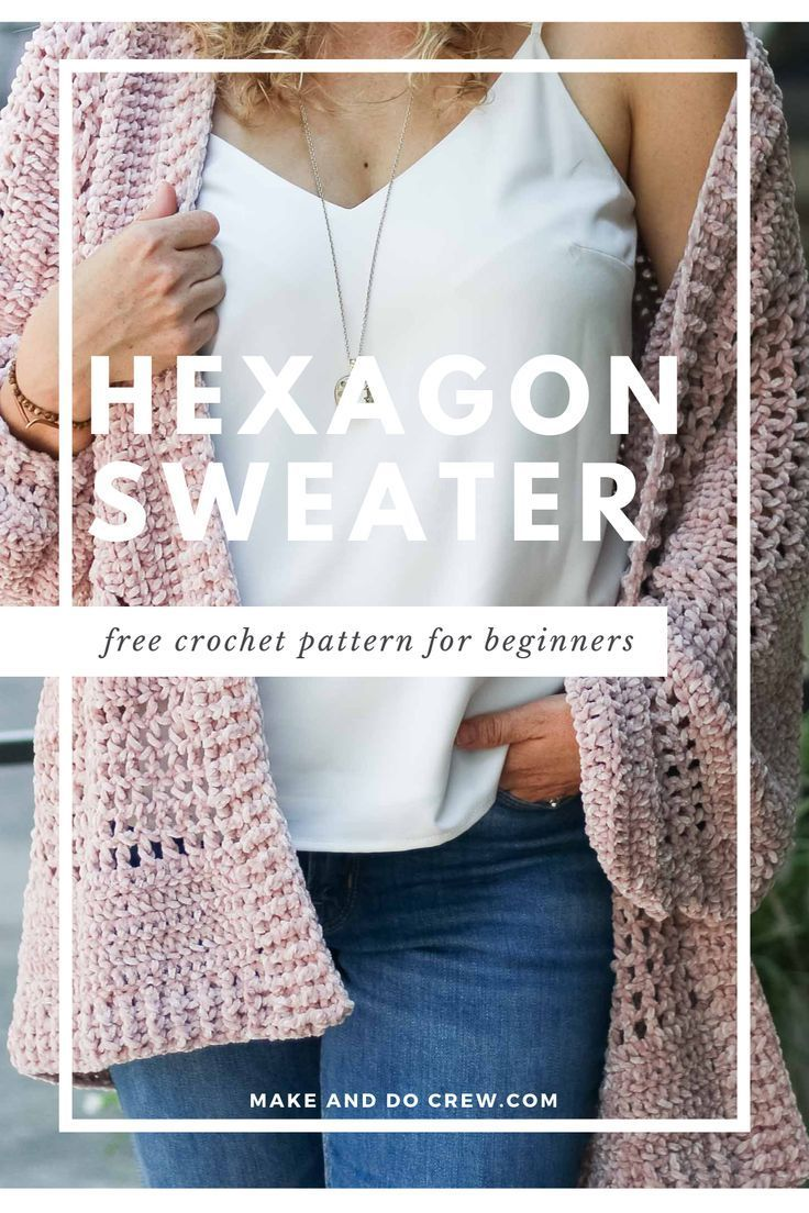 Photo of Crochet Cardigan Sweater Pattern made from two hexagons – free pattern!
