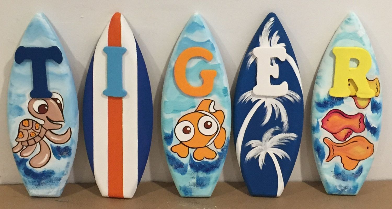 1ft wood kids surfboard name letter alphabet decorative finding 1ft wood kids surfboard name letter alphabet decorative finding nemo fish monkey anchor palm tree amipublicfo Images
