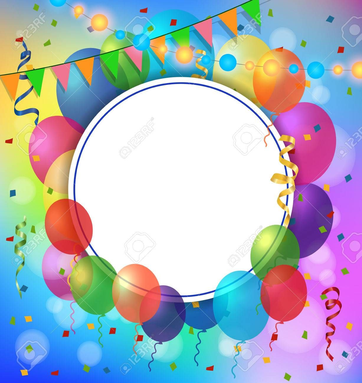 Blank Greeting Card With Round Frame Balloons And Garland For Greeting Cards Posters Leaflets And Brochures Balloons Birthday Frames Birthday Photo Frame