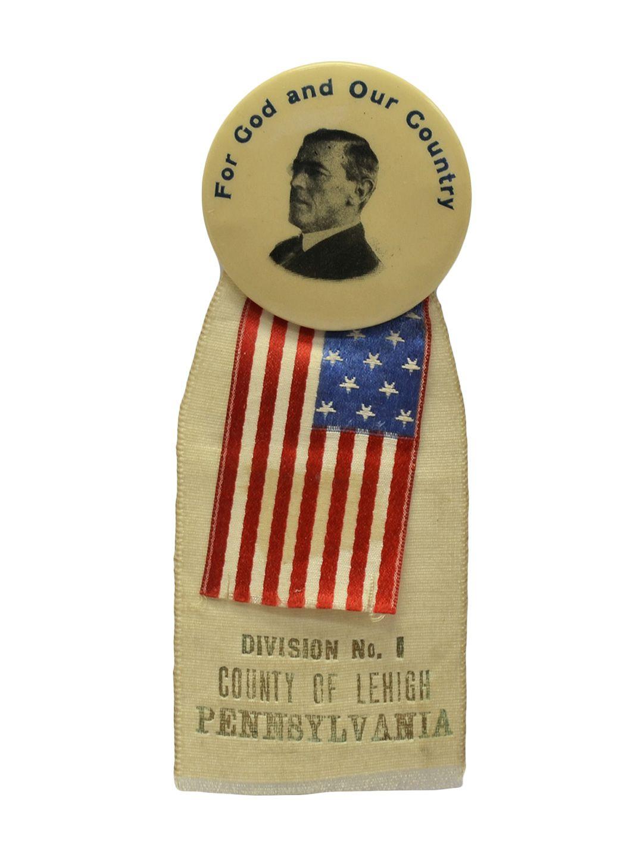 Woodrow Wilson World War I Patriotic Ribbon Pin