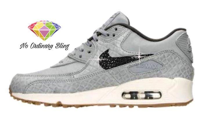 Black Bling Nike Air Max 90 Women s Matte Silver Swoosh -  NoOrdinaryBling 51477a1837