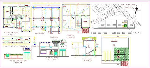 Plan Autocad du0027une petite villa dwg AutoCAD and Architecture - plan maison logiciel gratuit