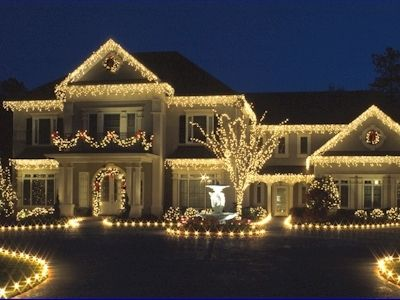 All White Icicle Lights night lights outdoors house decorate display ...