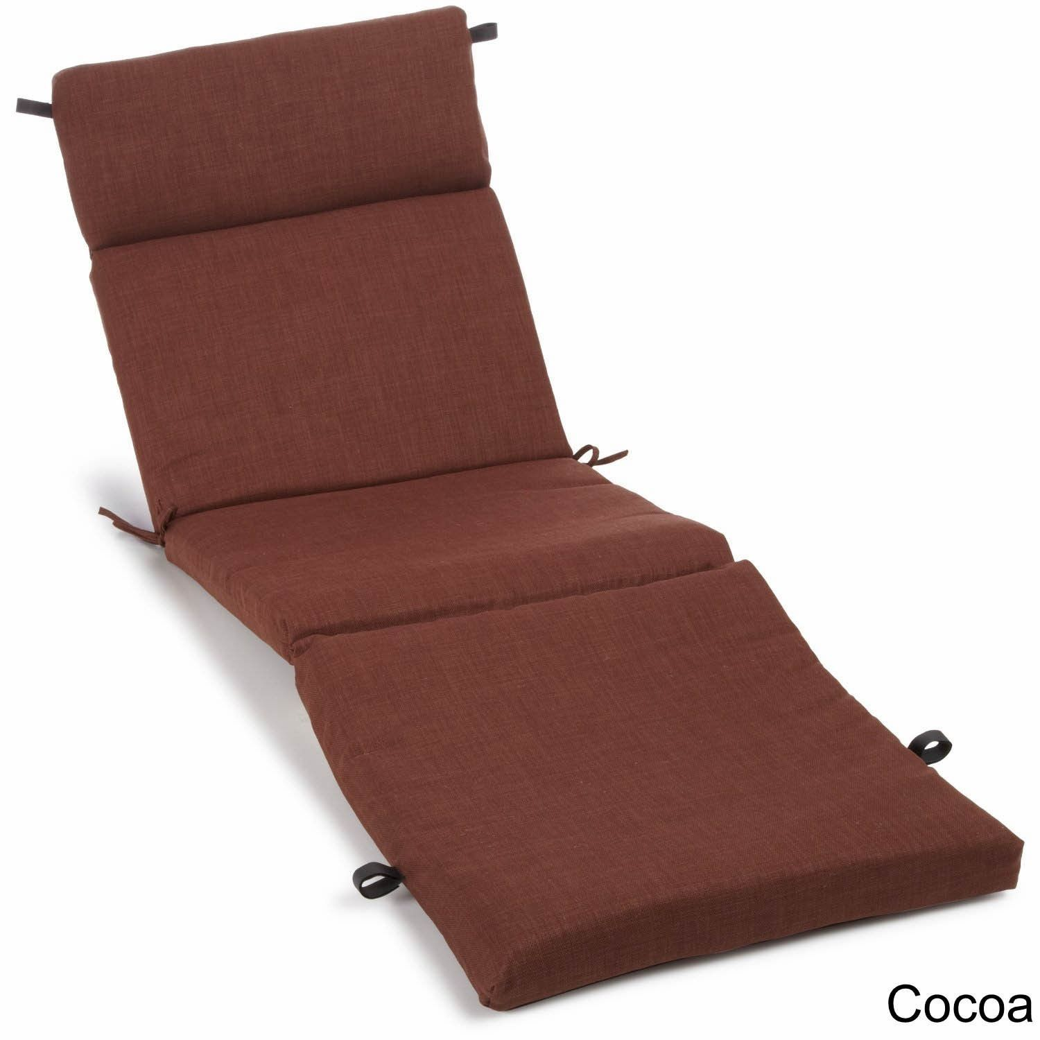 Blazing Needles Solid All Weather Uv Resistant Outdoor Chaise Lounge Cushion Cocoa
