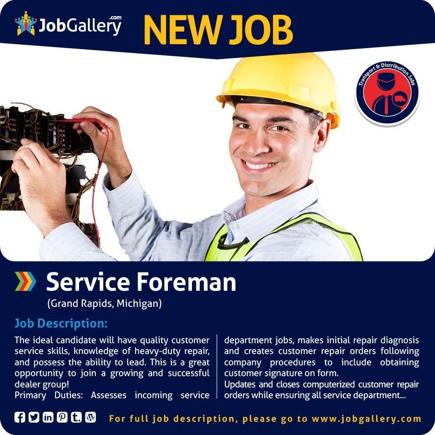 Service Foreman Customer service jobs, Job opening, Job