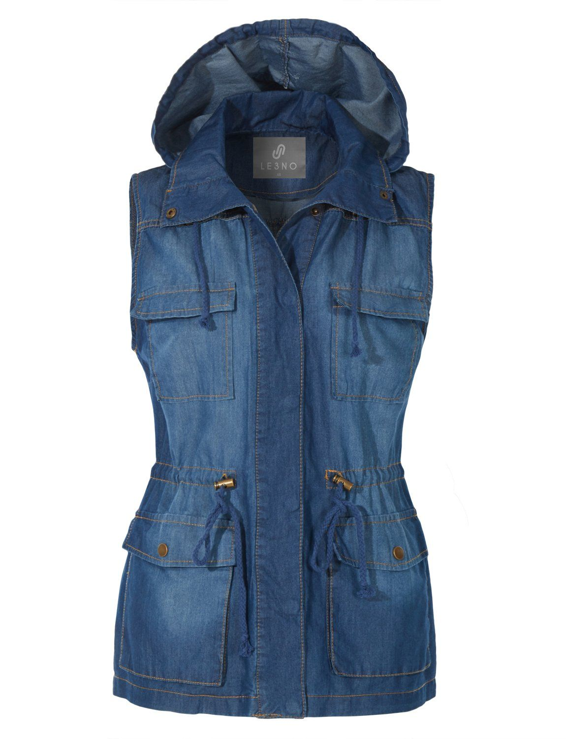 4b3cb80c7d00a0 Give your outfit a flare of the denim trend with our utility vest. Crafted  with refined soft cotton and tencel material
