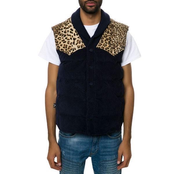 KITE The Cord Shawl Puff Vest in Navy and Leopard ($40) ❤ liked ...