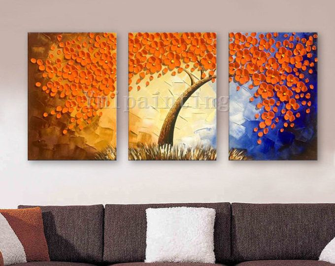 3 Piece Hand Painted Oil Painting Canvas Palette Knife 3d Flower Wall Art Pictures For Living Room Home Decor Cuadro Flower Wall Art Painting Wall Art Pictures