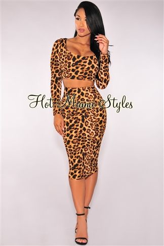 Leopard Print Long Sleeves Two Piece Set in 2019  9ff682602