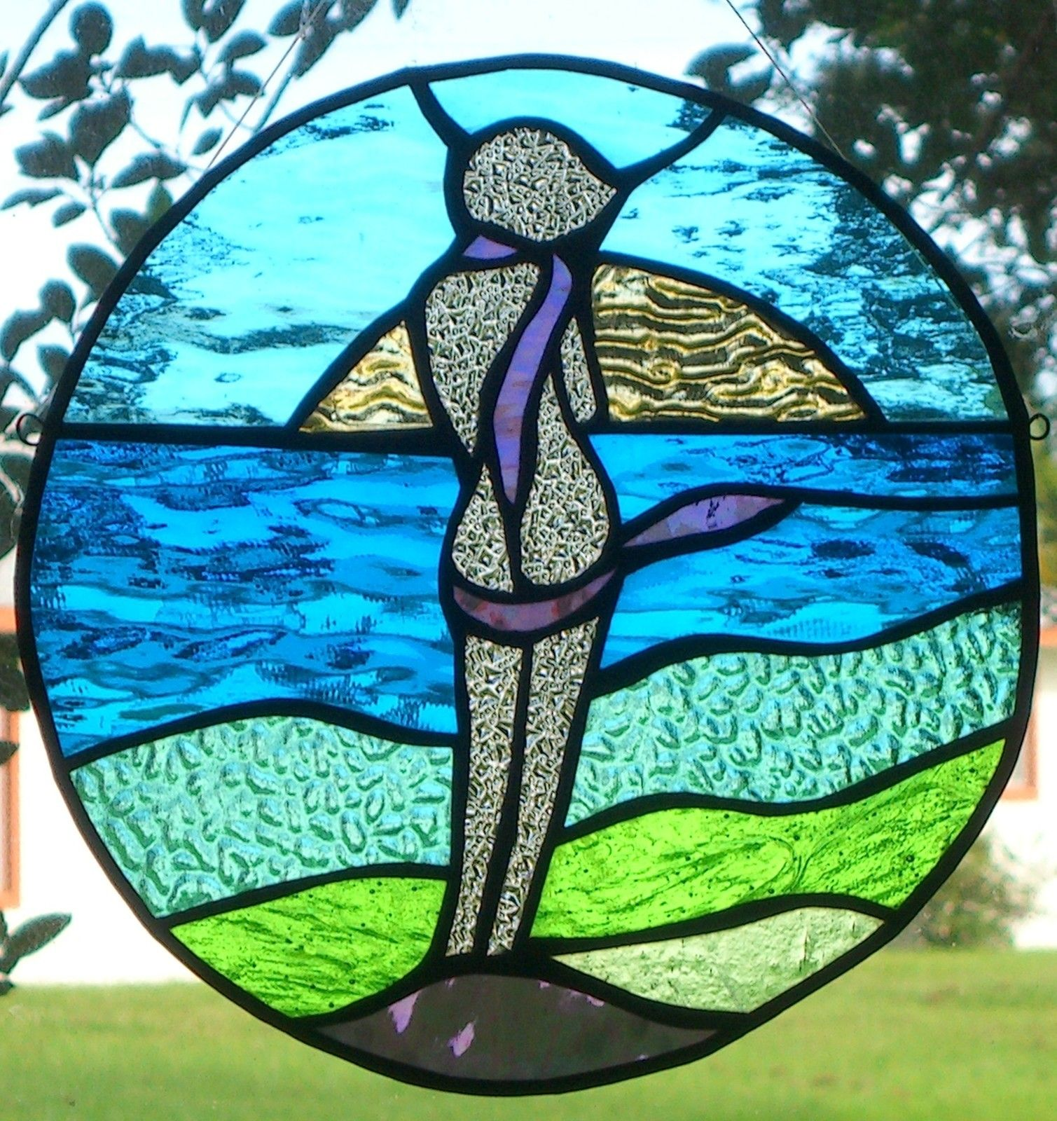 """BY THE SEA 12"""" Round Signed Hanging Stained Glass"""