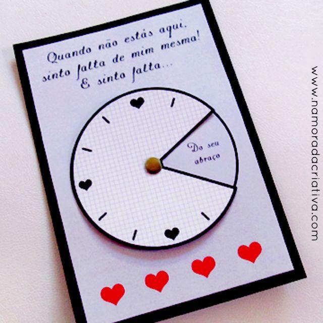 """3fecbaeae36679 DIY: Cartão """"Sinto sua falta o tempo inteiro""""   GiveIt   Namorada ..."""