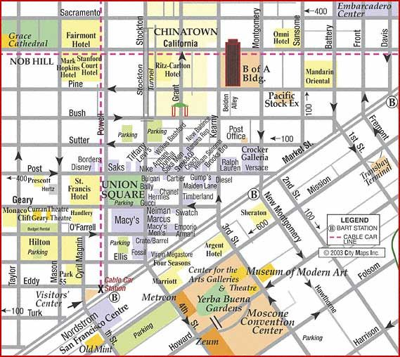 Road Map of San Francisco Union Square Shopping Map (San Francisco ...
