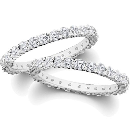 Sale SI 2.00CT Stackable Diamond Eternity Ring Wedding Band Set Enhancer  Guard 87489054fe