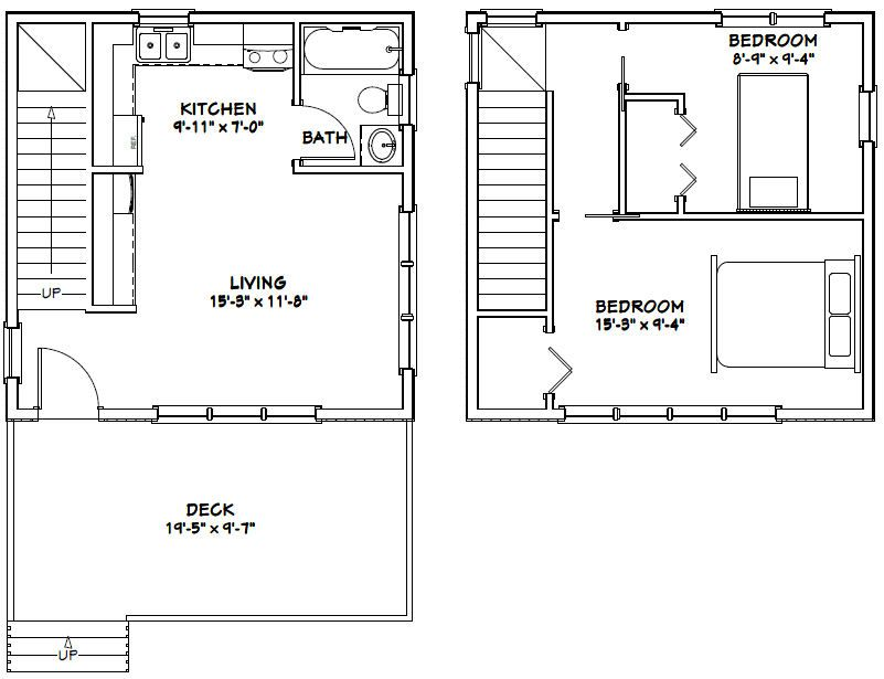 20x20 2 Bedroom 1 Bath Home 20x20h3 683 Sq Ft Excellent Floor Plans Cabin Floor Plans Loft Floor Plans Tiny House Plans