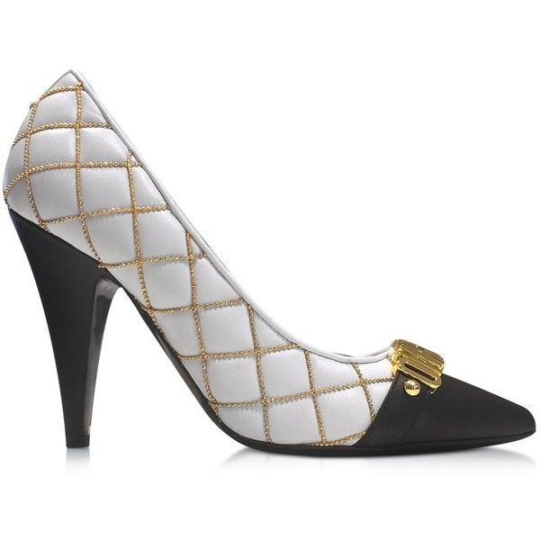 e93f7aba294 Moschino Shoes Quilted Nappa Pump w Golden Logo and Beads ( 680) ❤ liked on Polyvore  featuring shoes