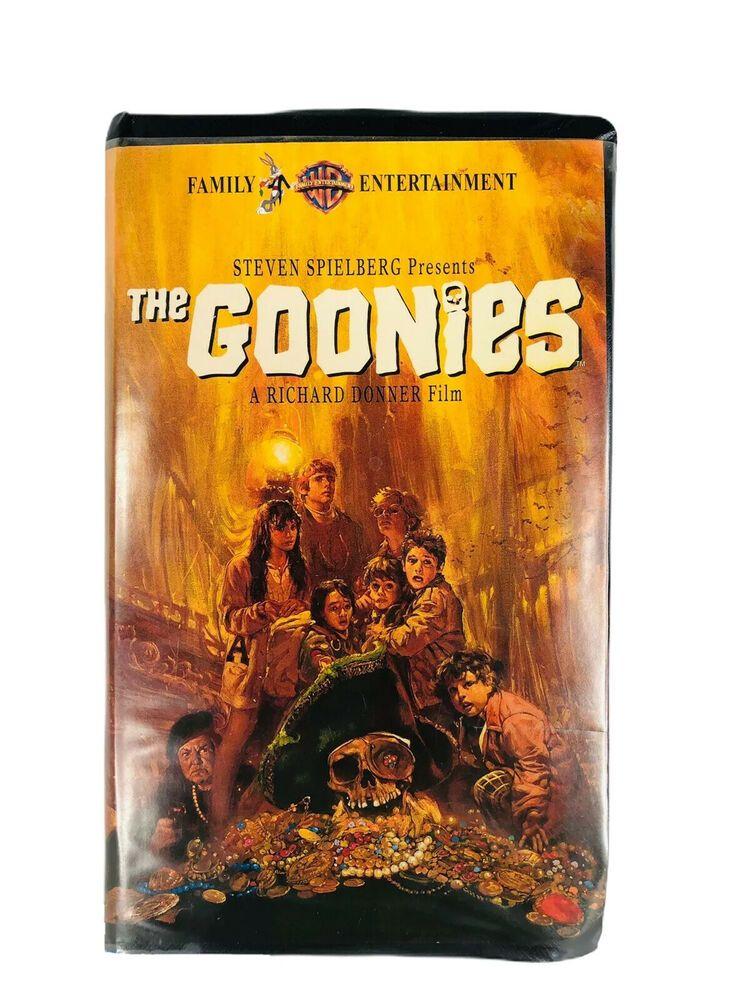 1994 The Goonies Vhs Movie Tape Black Clamshell Case Steven Spielberg Warner Bro Ebay In 2020 Vhs Movie Steven Spielberg Spielberg