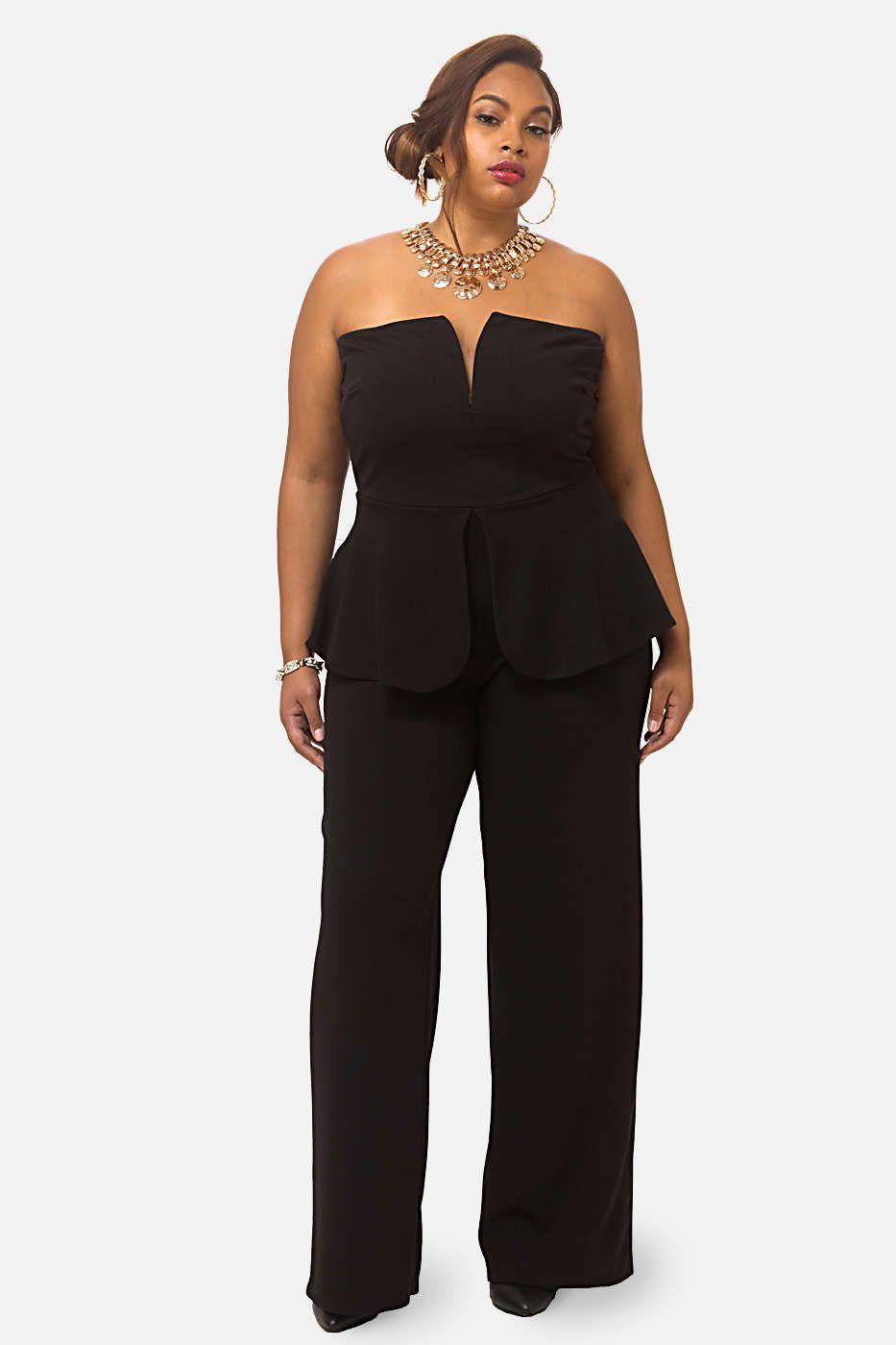 Plus Size Liam Strapless Peplum Jumpsuit Plus Size Outfits Plus Size Jumpsuit Beautiful Jumpsuits