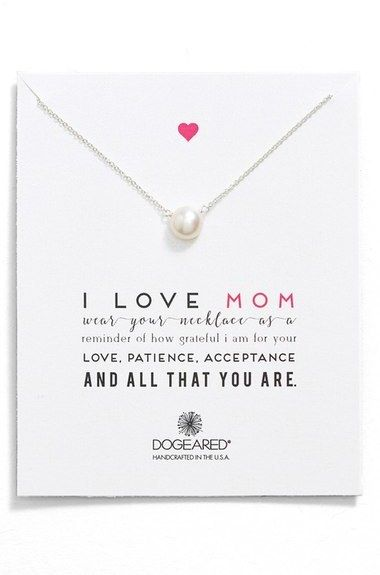 Dogeared 'I Love Mom' Pearl Pendant Necklace