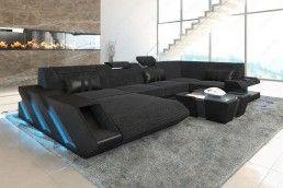 Luxury Moderne Stoff Wohnlandschaft mit LED Beleuchtung