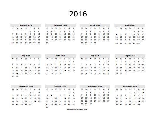 free printable 2016 calendar 2016 calendar november 2016 - yearly calendar