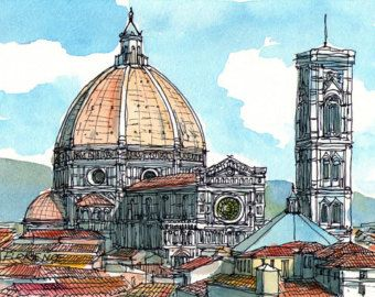 Florence Basilica di Santa Maria del Fiore Italy art by AndreVoyy